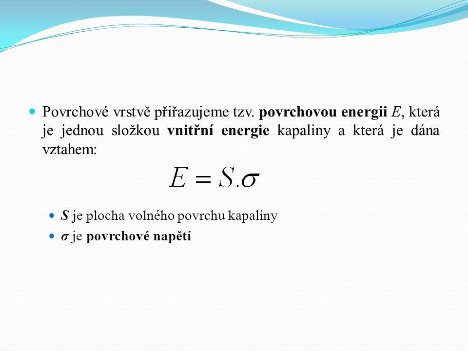 Povrchové vrstvě přiřazujeme tzv. povrchovou energii E, která je jednou složkou vnitřní energie kapaliny a která je dána vztahem: S je plocha volného