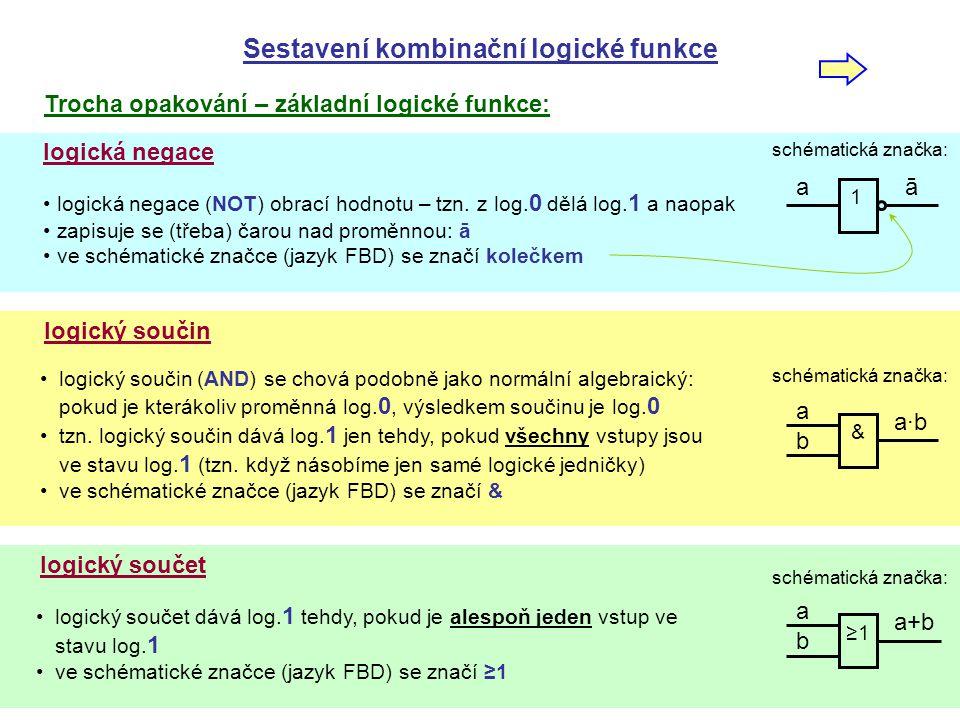 sestavení funkce - FBD Postup sestavení kombinační logické funkce 1) v pravdivostní tabulce najdeme řádky, kde je na výstupu log.1 2) pro tyto řádky zapíšeme součin všech vstupů 3) pokud je na daném řádku vstup log.0, zapíše se s negací 4) součiny z jednotlivých řádků sečteme 5) takto získáme první tzv.