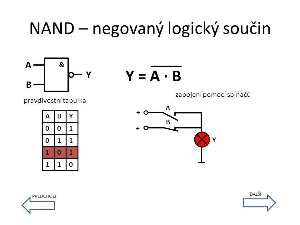 NAND – negovaný logický součin & A B Y Y = A · B pravdivostní tabulka A 0 0 1 1 B 0 1 0 1 Y 1 1 1 0 zapojení pomocí spínačů B A + + Y DALŠÍ PŘEDCHOZÍ