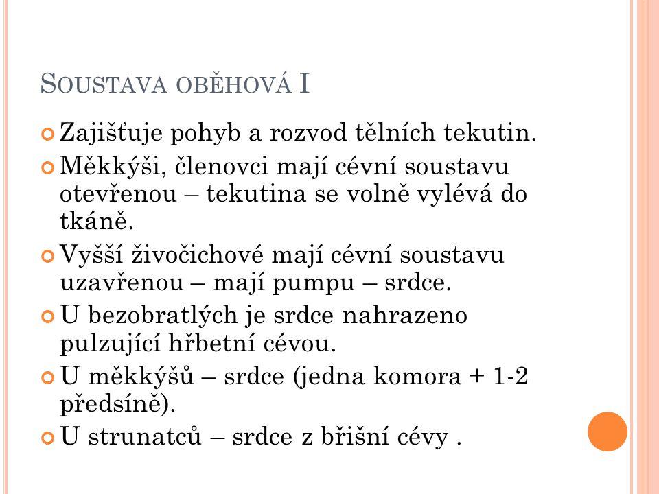 S OUSTAVA OBĚHOVÁ I Zajišťuje pohyb a rozvod tělních tekutin.