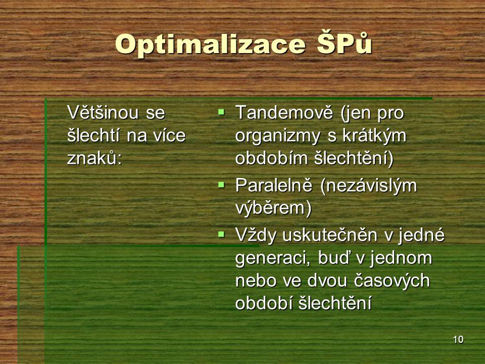 10 Optimalizace ŠPů Většinou se šlechtí na více znaků:  Tandemově (jen pro organizmy s krátkým obdobím šlechtění)  Paralelně (nezávislým výběrem) 