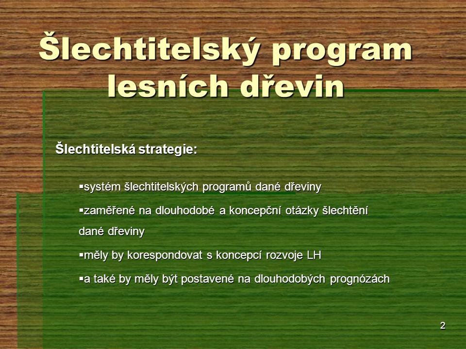 2 Šlechtitelský program lesních dřevin Šlechtitelská strategie:  systém šlechtitelských programů dané dřeviny  zaměřené na dlouhodobé a koncepční ot