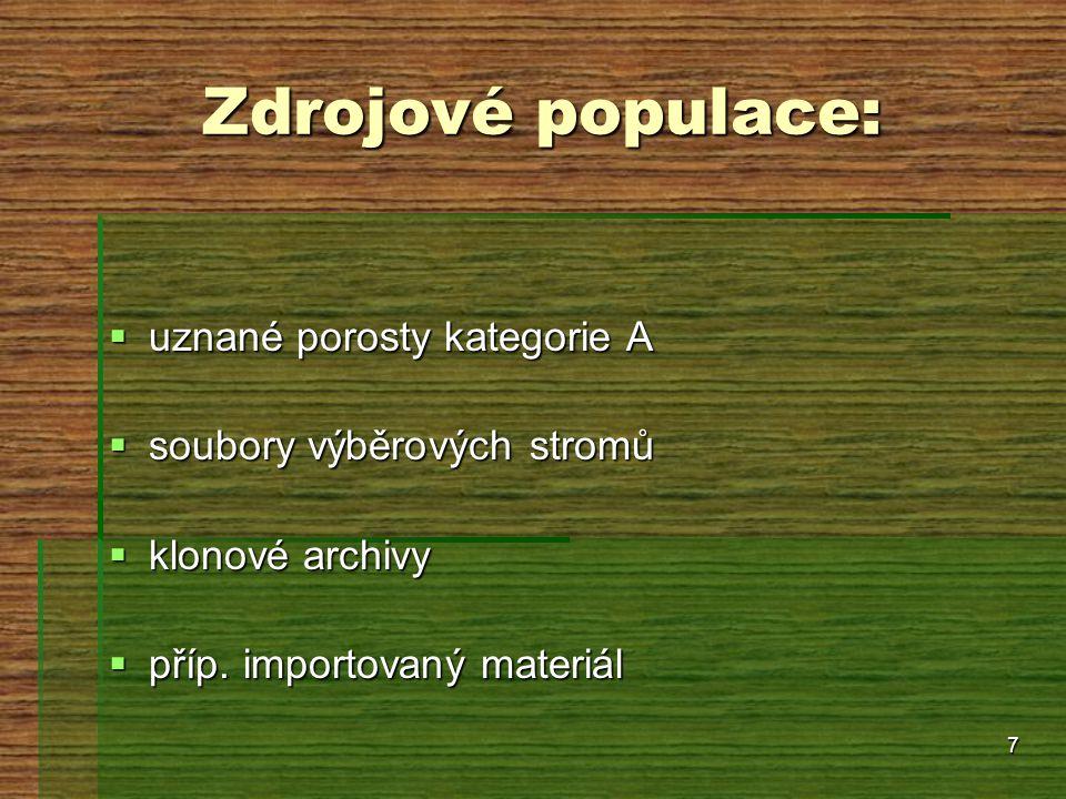 7 Zdrojové populace:  uznané porosty kategorie A  soubory výběrových stromů  klonové archivy  příp. importovaný materiál