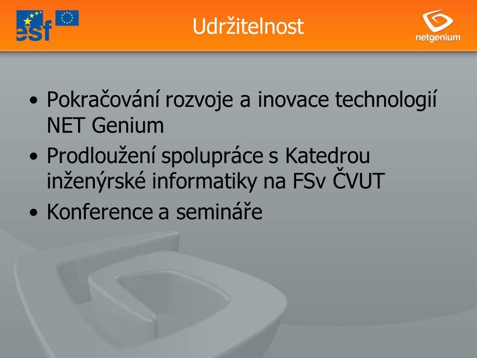 Udržitelnost Pokračování rozvoje a inovace technologií NET Genium Prodloužení spolupráce s Katedrou inženýrské informatiky na FSv ČVUT Konference a semináře