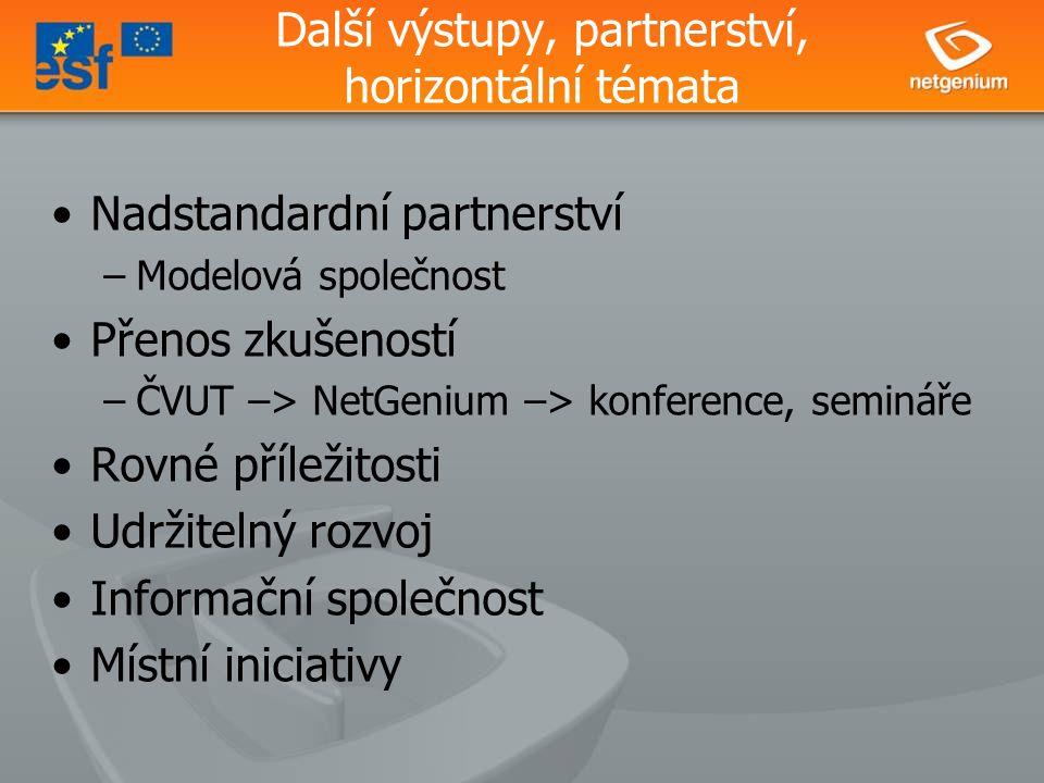 Další výstupy, partnerství, horizontální témata Nadstandardní partnerství –Modelová společnost Přenos zkušeností –ČVUT –> NetGenium –> konference, semináře Rovné příležitosti Udržitelný rozvoj Informační společnost Místní iniciativy