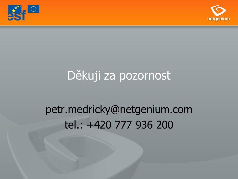 Děkuji za pozornost petr.medricky@netgenium.com tel.: +420 777 936 200
