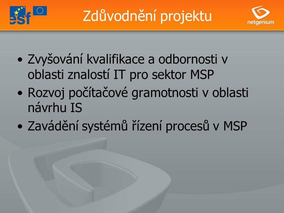 Zdůvodnění projektu Zvyšování kvalifikace a odbornosti v oblasti znalostí IT pro sektor MSP Rozvoj počítačové gramotnosti v oblasti návrhu IS Zavádění systémů řízení procesů v MSP