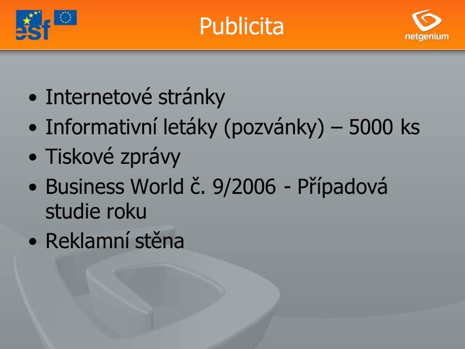 Publicita Internetové stránky Informativní letáky (pozvánky) – 5000 ks Tiskové zprávy Business World č.