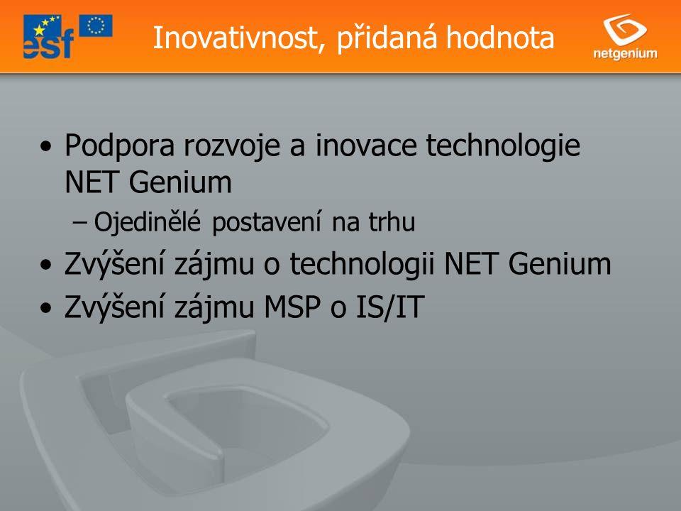 Inovativnost, přidaná hodnota Podpora rozvoje a inovace technologie NET Genium –Ojedinělé postavení na trhu Zvýšení zájmu o technologii NET Genium Zvýšení zájmu MSP o IS/IT
