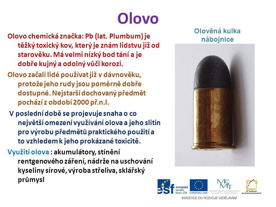 Olovo Olovo chemická značka: Pb (lat.