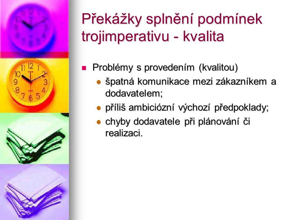 Překážky splnění podmínek trojimperativu - kvalita Problémy s provedením (kvalitou) Problémy s provedením (kvalitou) špatná komunikace mezi zákazníkem