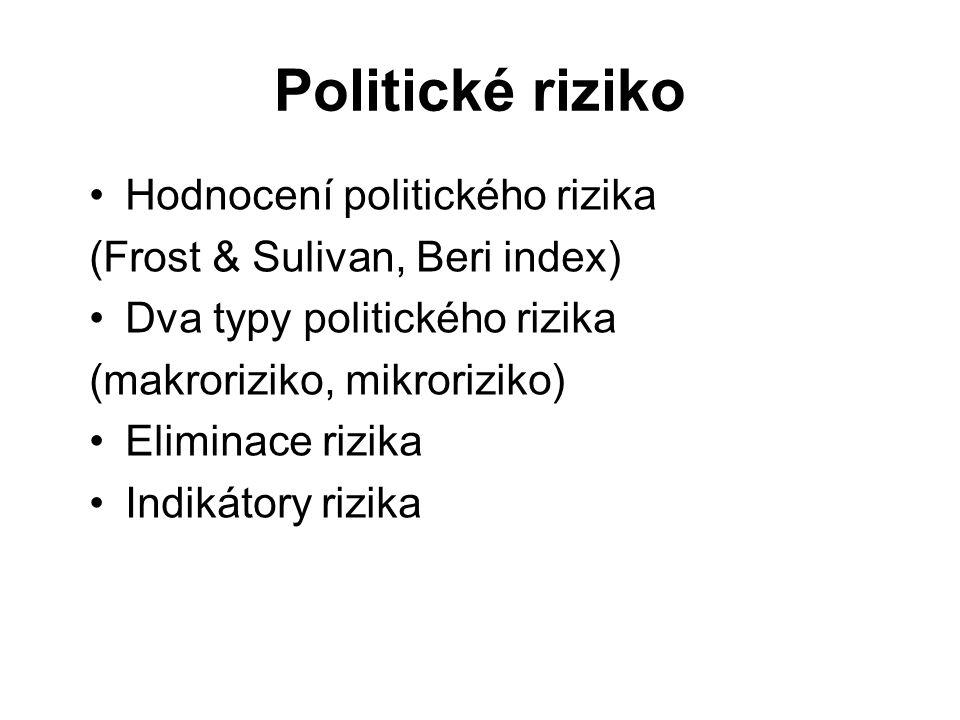 Politické riziko Hodnocení politického rizika (Frost & Sulivan, Beri index) Dva typy politického rizika (makroriziko, mikroriziko) Eliminace rizika In