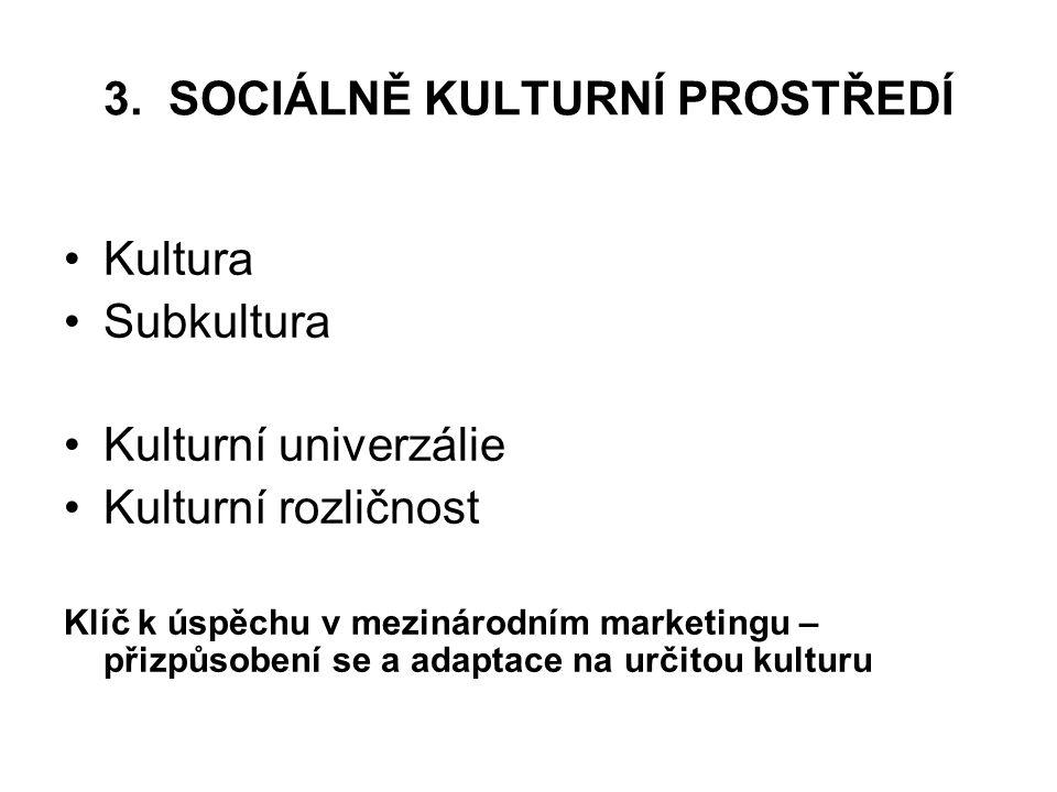 3. SOCIÁLNĚ KULTURNÍ PROSTŘEDÍ Kultura Subkultura Kulturní univerzálie Kulturní rozličnost Klíč k úspěchu v mezinárodním marketingu – přizpůsobení se