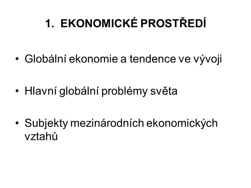 1. EKONOMICKÉ PROSTŘEDÍ Globální ekonomie a tendence ve vývoji Hlavní globální problémy světa Subjekty mezinárodních ekonomických vztahů