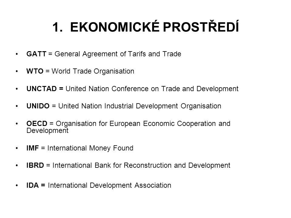 Podstata ekonomického prostředí struktura ekonomiky –průmyslově vyspělé země –industrializující se země –země exportující suroviny –rozvojové země struktura a výše příjmů −do 500 USD −501 – 2 000 USD −2 001 – 10 000 USD −nad 10 000 USD ekonomický systém - Tržní ekonomika - Plánovaná (centrální) ekonomika