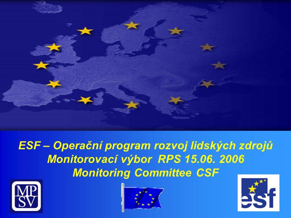 ESF – Operační program rozvoj lidských zdrojů Monitorovací výbor RPS 15.06.