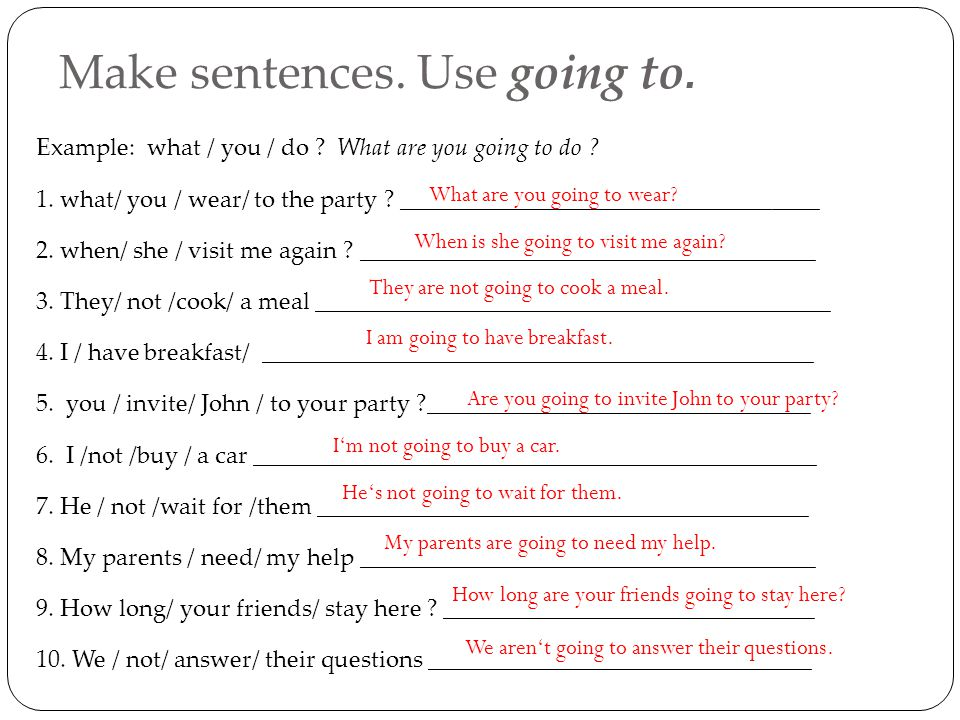 Make sentences. Use going to. Example: what / you / do .