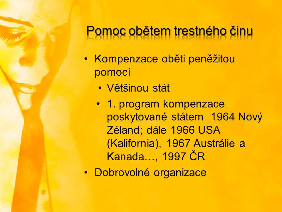 Kompenzace oběti peněžitou pomocí Většinou stát 1. program kompenzace poskytované státem 1964 Nový Zéland; dále 1966 USA (Kalifornia), 1967 Austrálie
