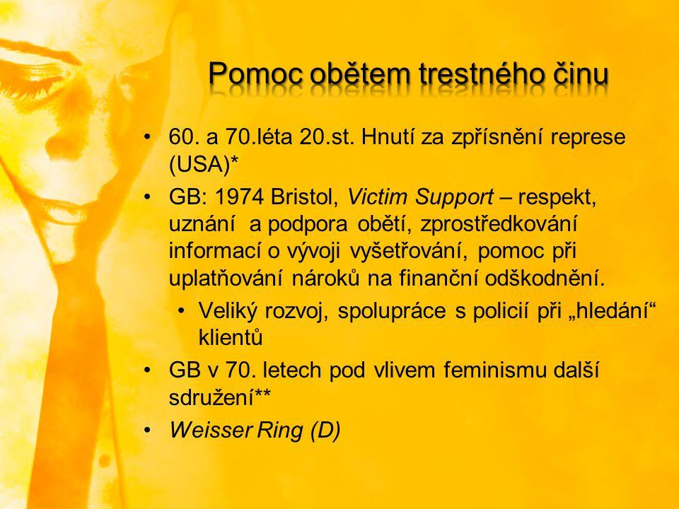 60. a 70.léta 20.st. Hnutí za zpřísnění represe (USA)* GB: 1974 Bristol, Victim Support – respekt, uznání a podpora obětí, zprostředkování informací o