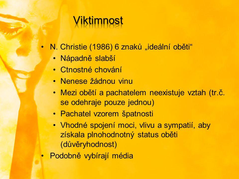 """N. Christie (1986) 6 znaků """"ideální oběti"""" Nápadně slabší Ctnostné chování Nenese žádnou vinu Mezi obětí a pachatelem neexistuje vztah (tr.č. se odehr"""