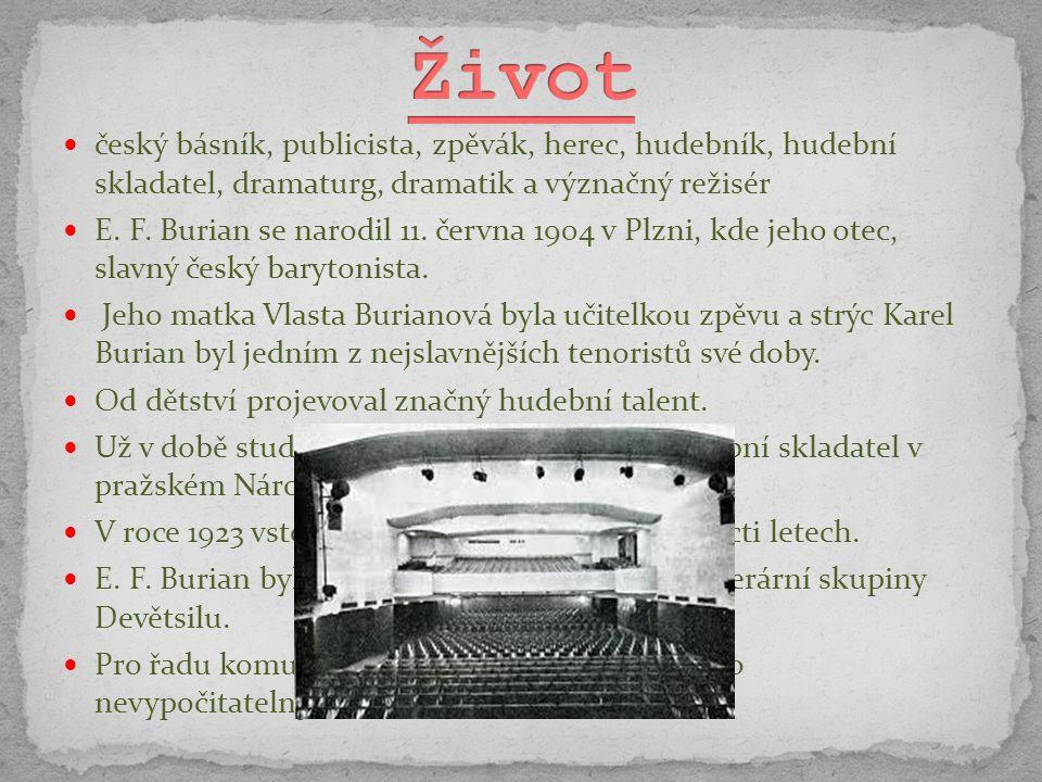 český básník, publicista, zpěvák, herec, hudebník, hudební skladatel, dramaturg, dramatik a význačný režisér E. F. Burian se narodil 11. června 1904 v