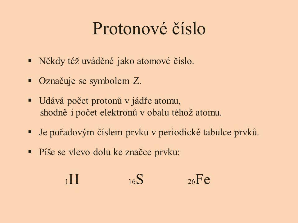 Protonové číslo  Někdy též uváděné jako atomové číslo.  Označuje se symbolem Z.  Udává počet protonů v jádře atomu, shodně i počet elektronů v obal