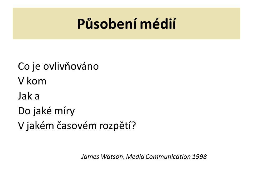 Působení médií 1) Vliv či role médií – společenská rovina, historicko- teoretický přístup, dlouhodobý vliv 2) Účinek či efekt médií – i individuální rovina, i krátkodobý účinek, empirický přístup, představa plánované komunikace (působení viz Jirák – Köpplová 2009)
