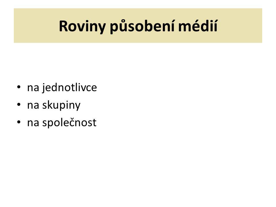 Působení médií na jednotlivce 1)fyziologické změny – př.