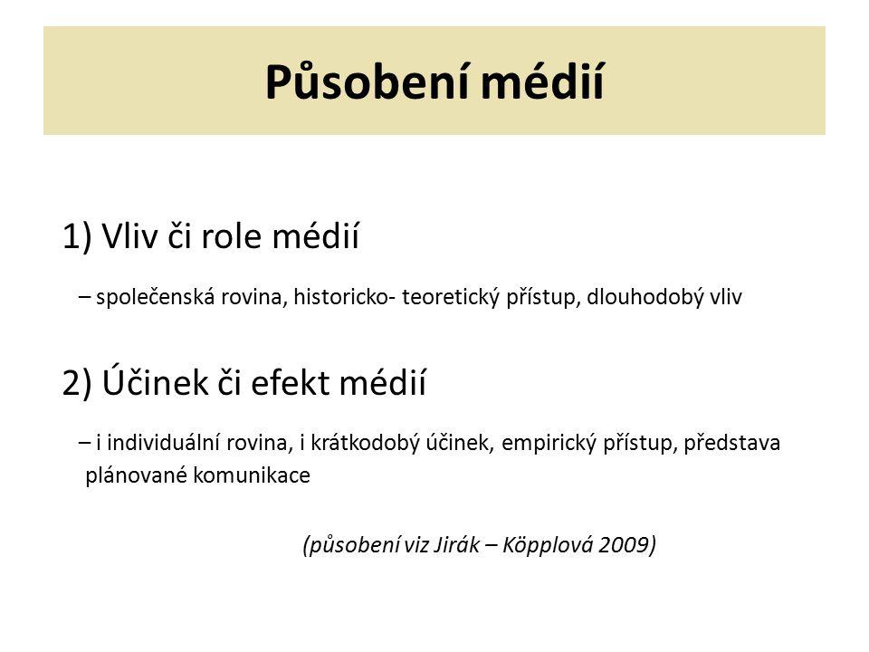 Působení médií Faktory ovlivňující posuzování vlivu médií: 1)stav dané společnosti 2)rozvoj médií – komunikačních technologií 3)rozvoj sebe-poznání společnosti