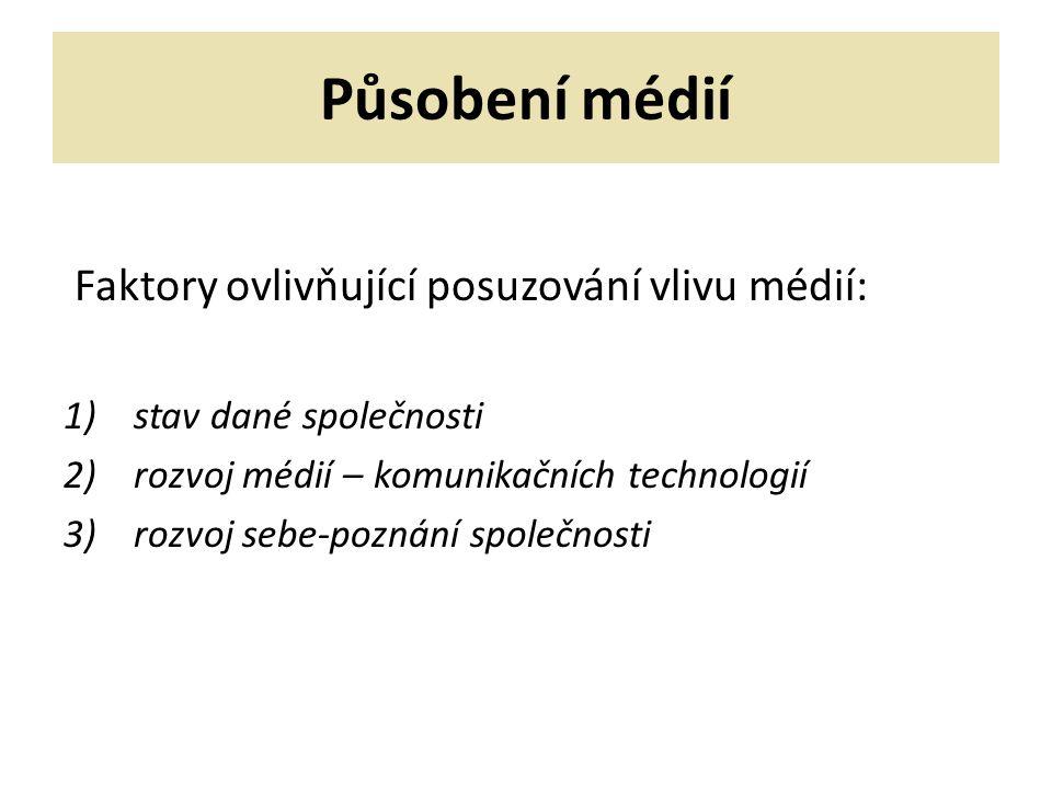 Působení médií Zdroje nejistoty ovlivňující posuzování vlivu médií: 1)Různost pohledů na mediální komunikaci 2)Společenská povaha mediální komunikace 3)Proměňující se povaha samotných médií