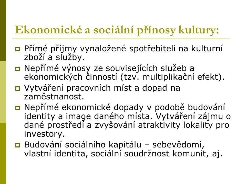 Ekonomické a sociální přínosy kultury:  Přímé příjmy vynaložené spotřebiteli na kulturní zboží a služby.  Nepřímé výnosy ze souvisejících služeb a e