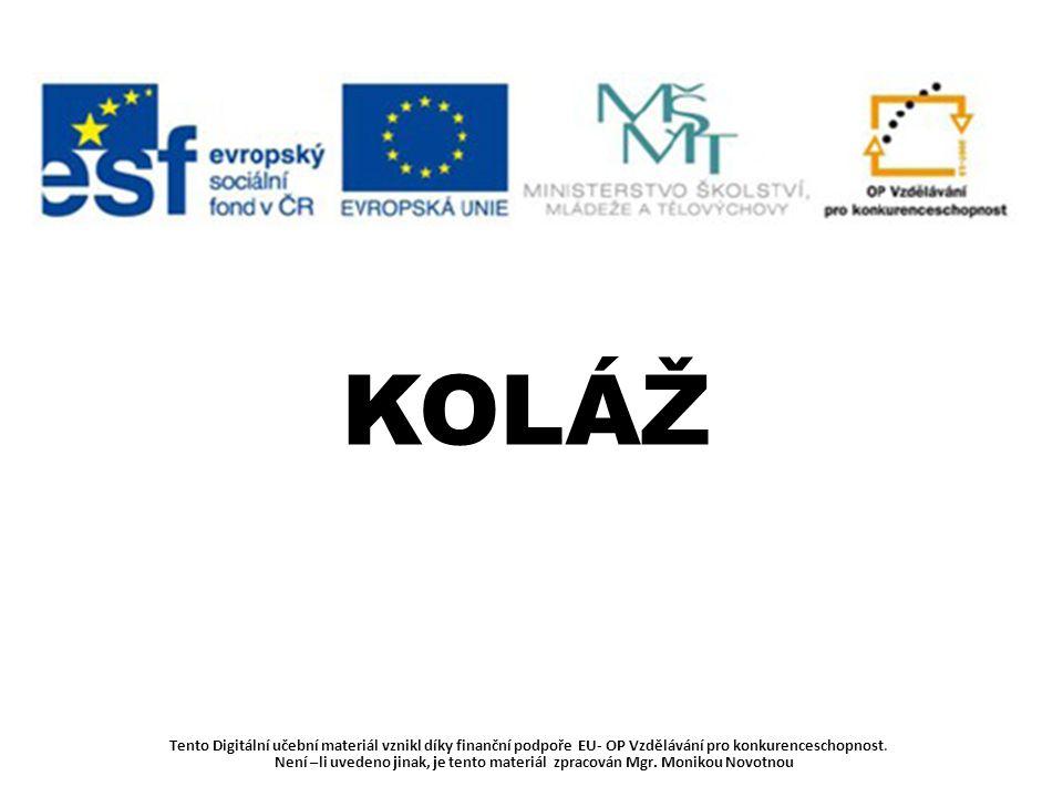 Tento Digitální učební materiál vznikl díky finanční podpoře EU- OP Vzdělávání pro konkurenceschopnost. Není –li uvedeno jinak, je tento materiál zpra