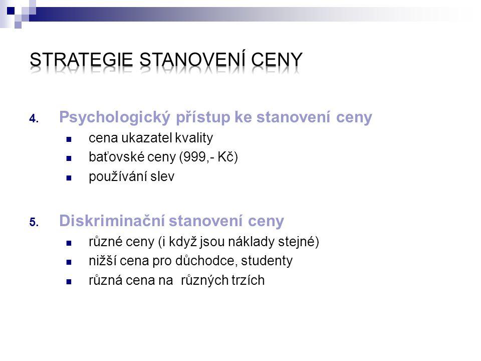4. Psychologický přístup ke stanovení ceny cena ukazatel kvality baťovské ceny (999,- Kč) používání slev 5. Diskriminační stanovení ceny různé ceny (i