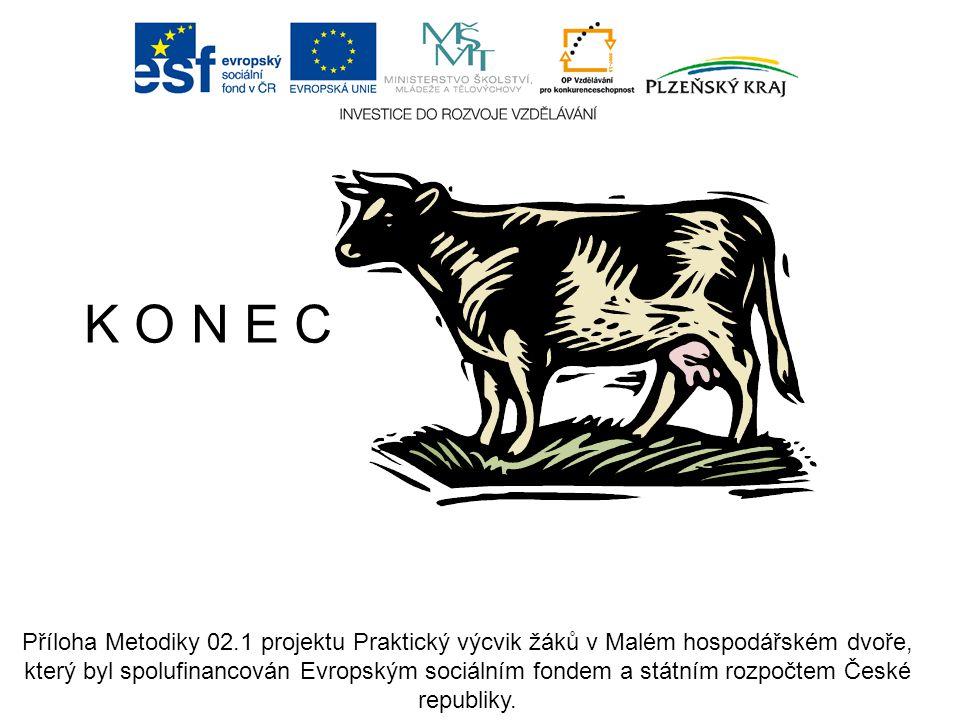 K O N E C Příloha Metodiky 02.1 projektu Praktický výcvik žáků v Malém hospodářském dvoře, který byl spolufinancován Evropským sociálním fondem a stát