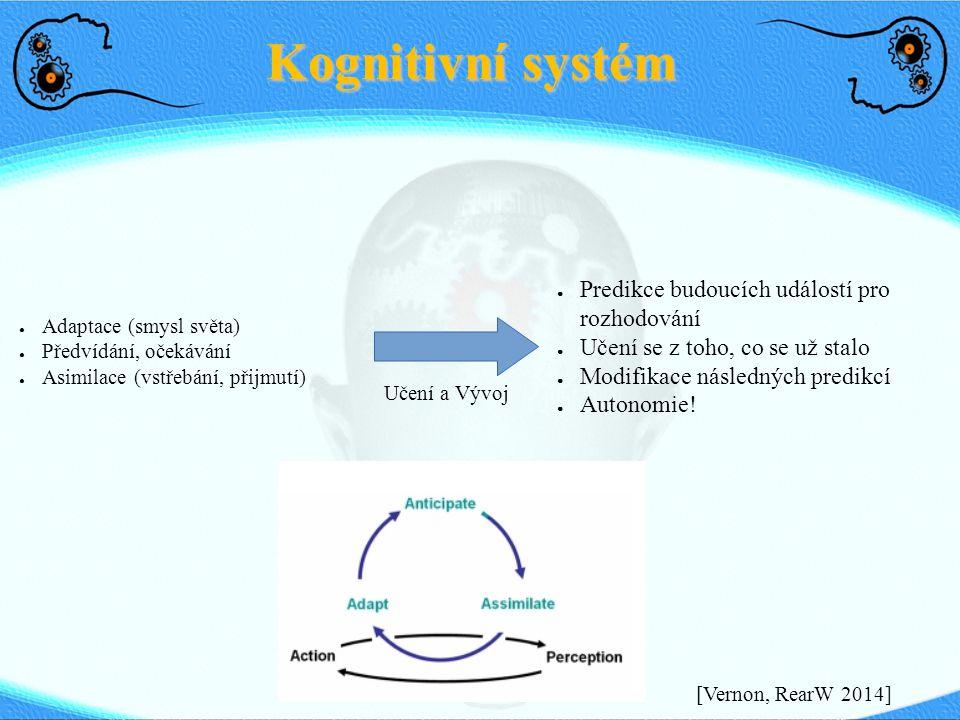 Kognitivní systém ● Adaptace (smysl světa) ● Předvídání, očekávání ● Asimilace (vstřebání, přijmutí) ● Predikce budoucích událostí pro rozhodování ● U
