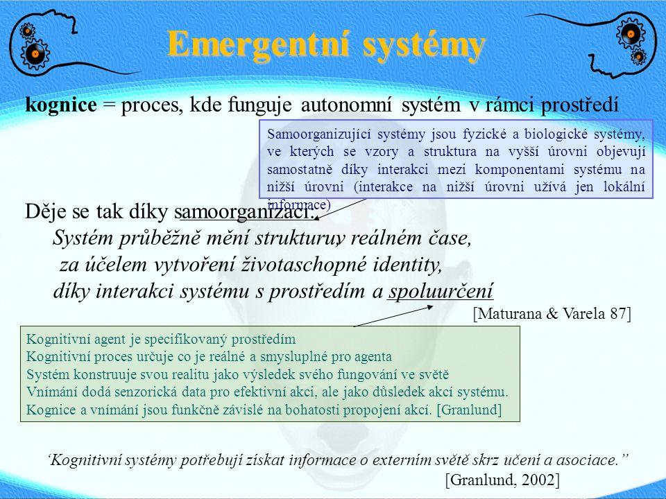 Emergentní systémy kognice = proces, kde funguje autonomní systém v rámci prostředí Děje se tak díky samoorganizaci: Systém průběžně mění strukturu, [