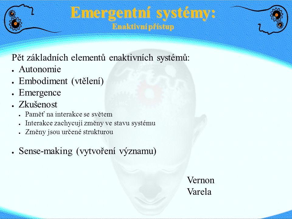 Pět základních elementů enaktivních systémů: ● Autonomie ● Embodiment (vtělení) ● Emergence ● Zkušenost ● Paměť na interakce se světem ● Interakce zac