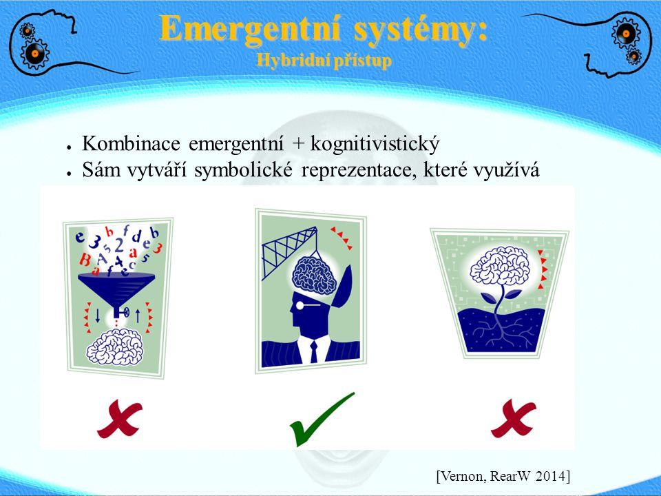 Emergentní systémy: Hybridní přístup ● Kombinace emergentní + kognitivistický ● Sám vytváří symbolické reprezentace, které využívá [Vernon, RearW 2014