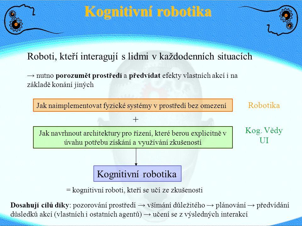 Kognitivní robotika Roboti, kteří interagují s lidmi v každodenních situacích → nutno porozumět prostředí a předvídat efekty vlastních akcí i na zákla