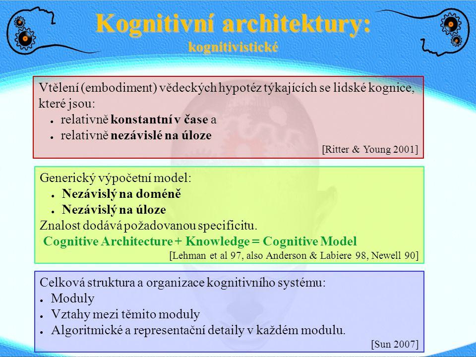 Kognitivní architektury: kognitivistické Vtělení (embodiment) vědeckých hypotéz týkajících se lidské kognice, které jsou: ● relativně konstantní v čas