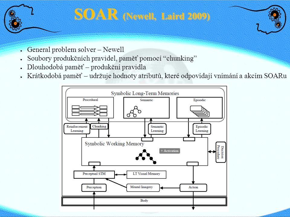 """SOAR (Newell, Laird 2009) ● General problem solver – Newell ● Soubory produkčních pravidel, paměť pomocí """"chunking"""" ● Dlouhodobá paměť – produkční pra"""
