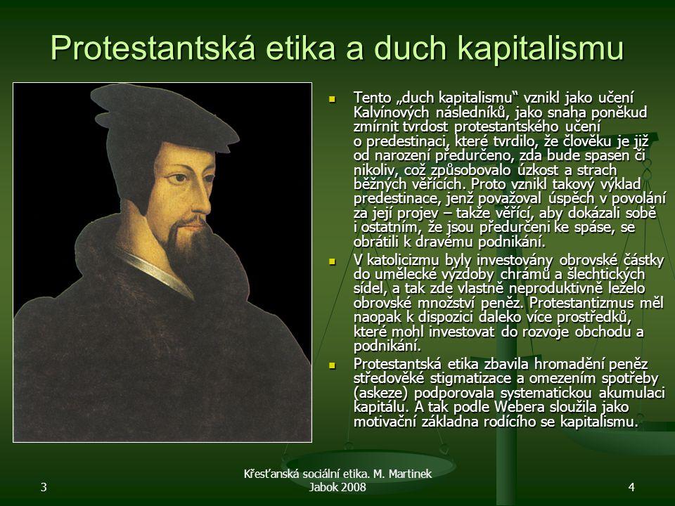 """3 Křesťanská sociální etika. M. Martinek Jabok 20084 Protestantská etika a duch kapitalismu Tento """"duch kapitalismu"""" vznikl jako učení Kalvínových nás"""