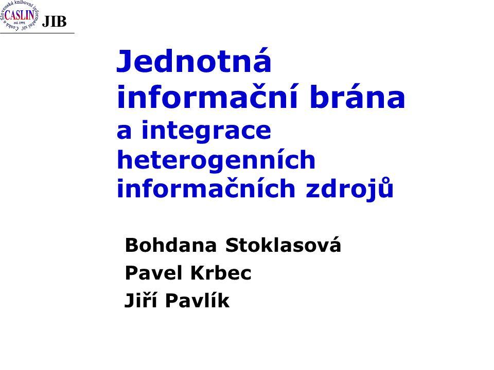 JIB Jednotná informační brána a integrace heterogenních informačních zdrojů Bohdana Stoklasová Pavel Krbec Jiří Pavlík