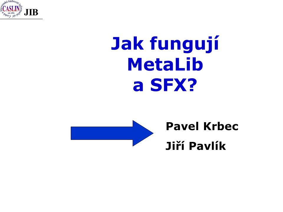 JIB Jak fungují MetaLib a SFX? Pavel Krbec Jiří Pavlík