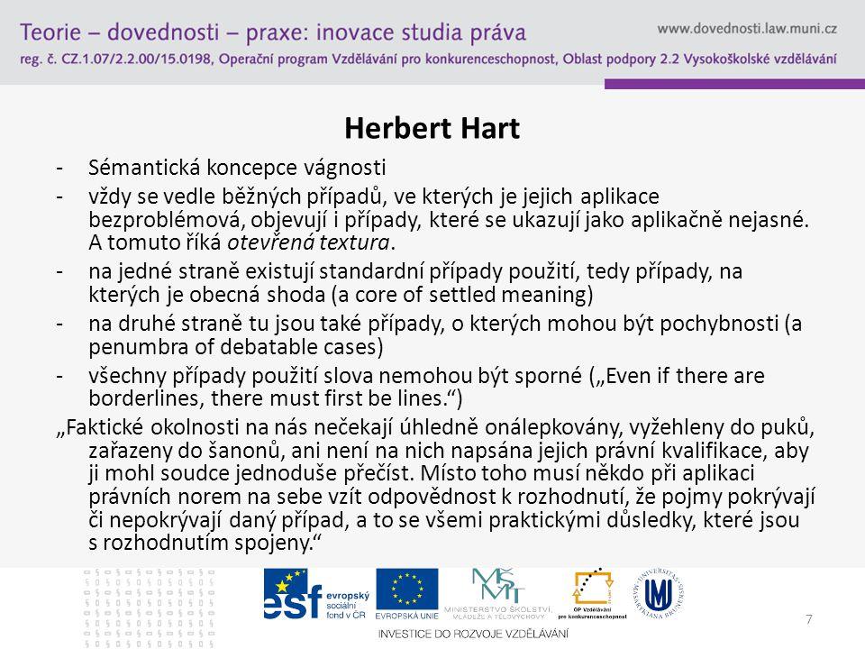 7 Herbert Hart -Sémantická koncepce vágnosti -vždy se vedle běžných případů, ve kterých je jejich aplikace bezproblémová, objevují i případy, které se ukazují jako aplikačně nejasné.