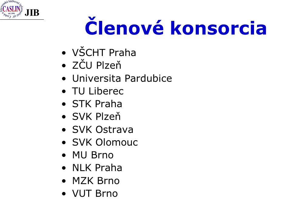 JIB Členové konsorcia VŠCHT Praha ZČU Plzeň Universita Pardubice TU Liberec STK Praha SVK Plzeň SVK Ostrava SVK Olomouc MU Brno NLK Praha MZK Brno VUT