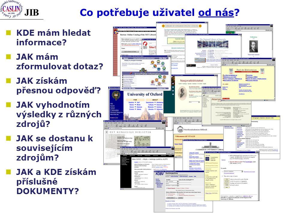 JIB Co potřebuje uživatel od nás? KDE mám hledat informace? JAK mám zformulovat dotaz? JAK získám přesnou odpověď? JAK vyhodnotím výsledky z různých z