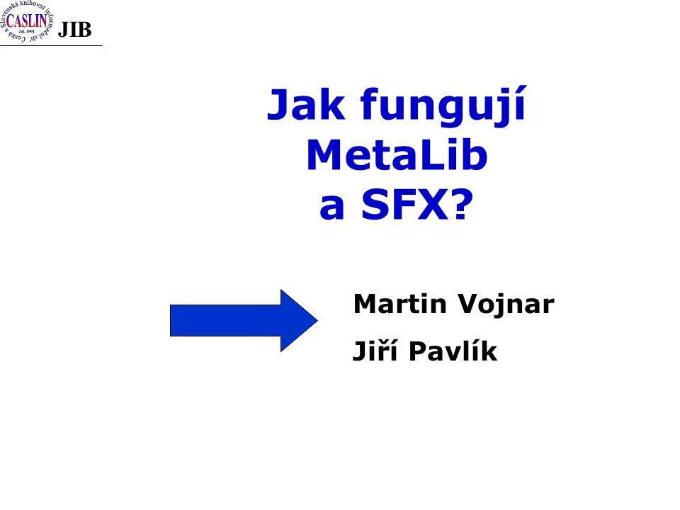 JIB Jak fungují MetaLib a SFX? Martin Vojnar Jiří Pavlík