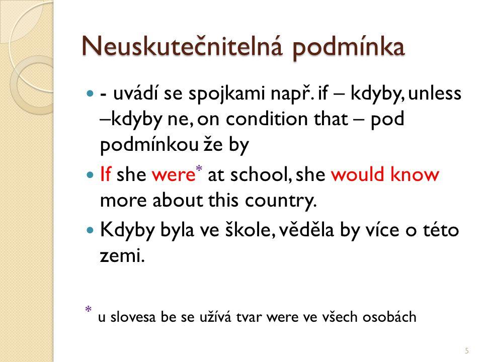 Neuskutečnitelná podmínka - uvádí se spojkami např. if – kdyby, unless –kdyby ne, on condition that – pod podmínkou že by If she were * at school, she