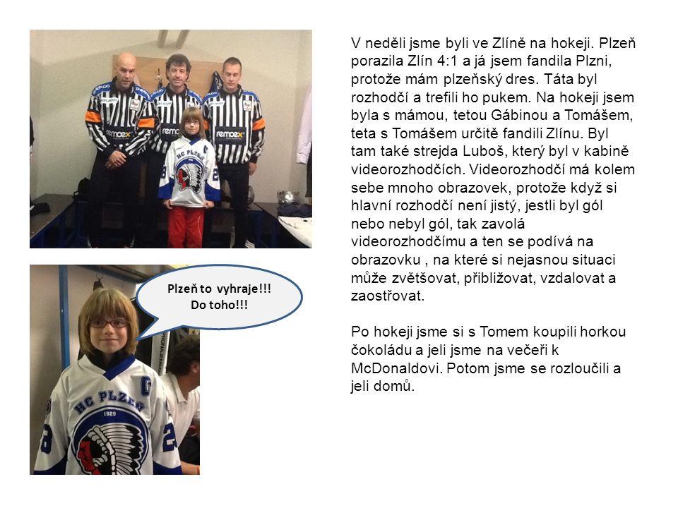 V neděli jsme byli ve Zlíně na hokeji. Plzeň porazila Zlín 4:1 a já jsem fandila Plzni, protože mám plzeňský dres. Táta byl rozhodčí a trefili ho puke
